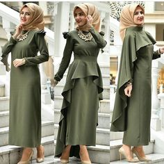 One dress 3 ways to wear it Abaya Fashion, Modest Fashion, Fashion Dresses, Muslim Dress, Hijab Dress, Dress Skirt, Moslem Fashion, Modele Hijab, Outfit Look