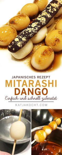 Mitarashi Dango Rezept - Einfach lecker: japanische Reismehlbällchen in salzig-süsser Sauce. California Rolls, Dessert Sushi, Dango Recipe, Drink Recipe Book, A Food, Food And Drink, Tasty, Yummy Food, Healthy Food