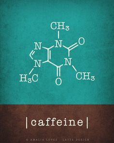 Caffeine molecule & chocolate molecule Set of 2 by LatteDesign