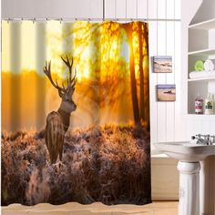 Camping Shower CurtainSolitary Weekend Theme Summer Morning Landscape In The Mountains Cartoon ImageCloth Fabric