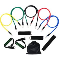 Resistance Bands Vitalismo Exercise Bands Rubber Fitness Workout Bands with Door Anchor Ankle Strap Carrying Case for Home Gyms Physical Therapy 5 Colors * Want to know more, click on the image.