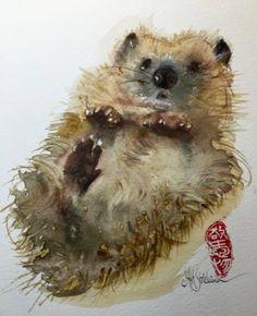 """Saatchi Art Artist Marie-Helene Stokkink; Painting, """"little Hedge-Hog"""" #art"""