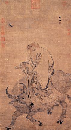 Zhang Lu(张路) , 明 張路 畫老子騎牛 台北故宫博物院藏 这幅画是明代张路的真蹟,画上有签款「平山」二字,还钤盖有「张路印」的印章。张路是继吴伟之后最重要的浙派大师,他的人物画虽然用笔快速、粗率,但却能精準地捕捉物象的形体和神态,而在用色方面,他也擅长运用微妙的墨色变化,让作品的质感更为丰富。本幅画的主题是描绘老子骑牛出关,以《道德经》一书赠与太守尹喜的故事。老子是中国古代伟大的思想家,他的事蹟不仅被后代的道教徒传诵,他的形象也被艺术化,成为重要的道教图像。画面中,老子骑着牛隻,手拿《道德经》,缓缓向前行走。画面的背景是大片空白,并无描绘建筑物的场景,也无出现太守的形象。在画面左上方,有一隻蝙蝠在空中飞翔。「蝠」与「福」字谐音,所以这幅画除了一般的宗教功能,还包含了象徵福气的吉祥意涵。