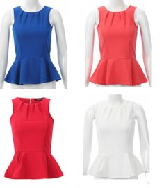 New Ladies Sexy Sleeveless Casual Party Summer Colors Celebrity Style Peplum Top