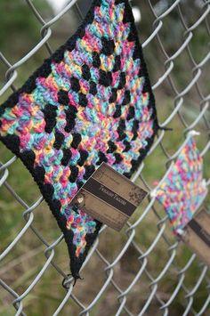 granny square yarn bomb by twilight taggers
