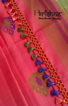 Saree Kuchu New Designs, Saree Tassels Designs, Wedding Saree Blouse Designs, Simple Blouse Designs, Blouse Neck Designs, Designer Blouse Patterns, Dress Sewing Patterns, Silk Thread Bangles Design, Crochet Designs