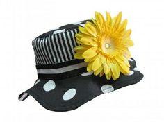 Jamie Rae Black White Dot Sun Hats with Yellow Daisy