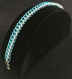 Teal Blue and Silver Half Persian 3 in 1 Bracelet Chainmaille