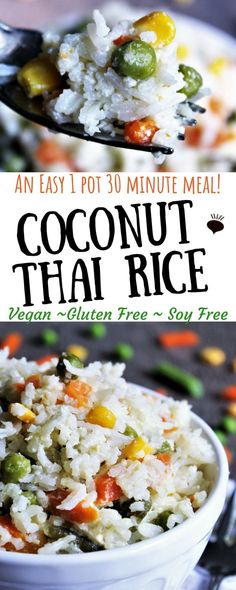 Easy 1 Pot Thai Coconut Rice with Green Curry! A simple, quick, and easy recipe for Thai coconut rice with veggies that you can make in 1 pot in 30 minutes! Vegan Rice Dishes, Rice Recipes Vegan, Vegan Dinner Recipes, Vegan Foods, Vegan Dinners, Food Dishes, Vegetarian Recipes, Cooking Recipes, Healthy Recipes