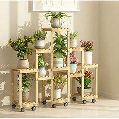 QiXian Shelves Organizer for Books Bookcase Bookshelf Ends Flower Stand Multi-Layer Floor-Standing Space Saving Indoor Living Room Plant Stand Outdoor Balcony Pot Rack Pure Wood Shelf Strong Sturdy Flower Stands, Rack Design, Decor, Balcony Decor, House Interior, Living Room Plants, Plant Decor Indoor, Plant Shelves, Plant Stands Outdoor
