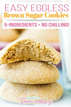 These Easy Eggless Brown Sugar Cookies are soft and chewy! Super easy to make with just 5 simple ingredients. No chilling time required! Sometimes I prefer a pure, simple cookie like these sugar cookies Easy Eggless Brown Sugar Cookies. These cookies are buttery, soft, and chewy! Pure goodness. They're super easy to make and requires no chilling time, which means you'll be in cookie heaven in almost no time at all. | @mommyhomecookin #easyspringcookiesrecipe #bestegglesscookies Brown Sugar Cookie Recipe, Eggless Cookie Recipes, Brown Sugar Cookies, Eggless Desserts, Easy Sugar Cookies, Delicious Cookie Recipes, Sugar Cookies Recipe, Yummy Cookies, Snack Recipes