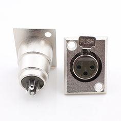 무료 배송 금속 3 핀 XLR 여성 잭 소켓 패널 마운트 커넥터 XLR 컨버터 어댑터