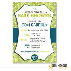 Baby Boy Shower Invitation  Lime Green & by KelliNichollsDesigns, $15.00