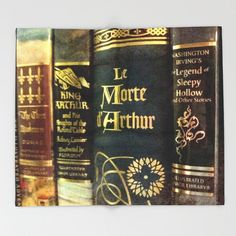 Adventure Library Throw Blanket: Bedding, home decor, books, King Arthur, Sleepy Hollow, boy's room, Three Muskuteers
