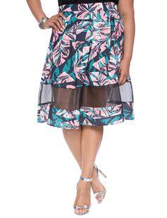 56b5533cf84 Sheer Insert Printed Midi from eloquii.com Plus Size Skirts