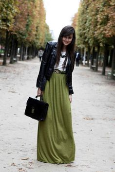 Outfit Inspiration - Olive colored maxi skirt with (faux) leather jacket #hijab #hijabi #ootd