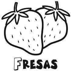 Dibujo para imprimir y pintar de fresas - Dibujos para colorear de frutas
