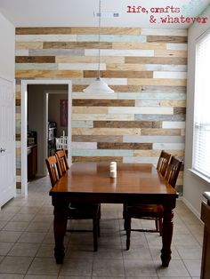 DIY Plank Wall -- she explains how she created the different colored planks which I love! --Life Crafts & Whatever