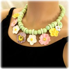 Flying Colors Ceramic Pastel Flowers Necklace from 2heartsjewelry-rl on Ruby Lane. SOLD