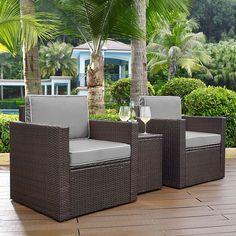 Crosley Furniture Palm Harbor Patio Arm Chair & End Table 3-piece Set, Grey