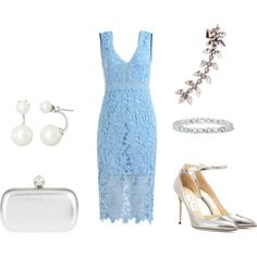 A fashion look from July 2016 by moguland featuring Jimmy Choo, Alexander McQueen, Alexis Bittar, DANNIJO, La Preciosa, contemporary, Silver, lace and wedding