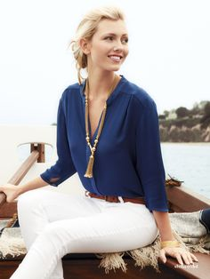 Love this nautical inspired ensemble with Stella & Dot Spring 2012 Bianca Tassel Necklace