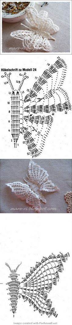 Two gorgeous #crochet #butterflies with charts... from http://argopirgasto.blogspot.com/p/heklanje.html