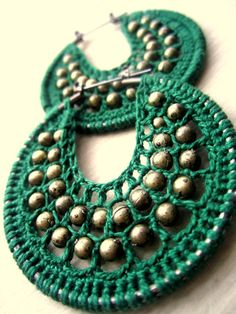 Crocheted hoops in green and bronce color by BohemianHooksJewelry