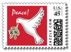 "Christmas holiday postage stamps with beautiful white dove and olive branch and text ""peace"""