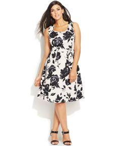 INC International Concepts Plus Size Floral-Print A-Line Dress - Dresses - Plus Sizes - Macy's