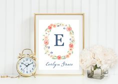 Peach & Green Floral Watercolor Monogram Art, wall decor, girl's nursery or home, full name display, customized, Gray Frames digital print by GrayFrames on Etsy