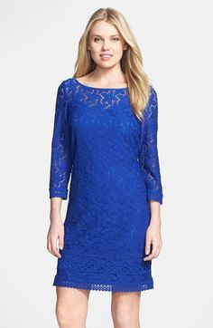 Laundry by Shelli Segal Scoop Back Lace Shift Dress available at #Nordstrom