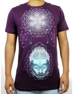 Men's Buddha Sacred Geometry Wine T-Shirt