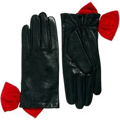 c055338ed Alice Hannah Red Bow Leather Gloves ($21) ❤ liked on Polyvore featuring  accessories,
