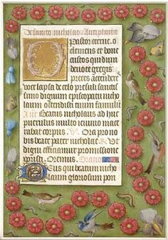"""""""Netherlandish Illuminated border,"""" late 15th century. From a Flemish book of hours, 12 x 10 ¾ inches. Collection of Robert J. Parsons."""