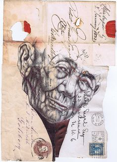 Bic biro drawing on a collection of envelopes dating from by mark powell . Biro Drawing, Ink Pen Drawings, Drawing Sketches, Collages, Collage Art, Mark Powell, Charcoal Sketch, Envelope Art, Art Thou