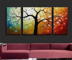Amazon.com: 3 Piece Canvas Art Modern Art 100% Hand Painted Oil Painting on Canvas Wall Art Deco Home Decoration (Unstretch No Frame): Home & Kitchen