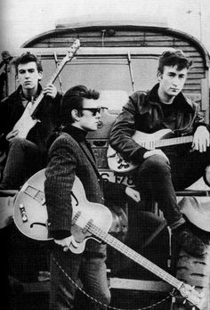 George, Stuart Sutcliffe and John, Hamburg, 1960: Photo by Astrid Krichherr