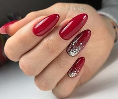 Red gel nails with a sparkling accent - Nails - sparkling gel nails . -Red gel nails with a sparkling accent - Nails - sparkling gel nails . -Red gel nails with. Red Shellac Nails, Sparkle Gel Nails, Glitter Nail Art, Pink Nails, Nail Polish, Red Nails With Glitter, Christmas Shellac Nails, Nail Red, Red Christmas Nails