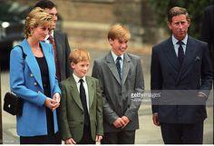 Eton,England September 6, 1995. Princess Diana, Prince Harry, Prince William, Prince Charles at Prince William first day at Eton.