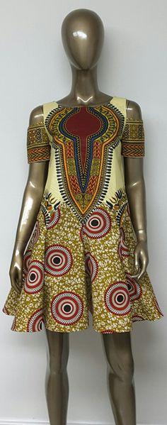 African Print Swing and Shift Mini Dress. Cold by NanayahStudio