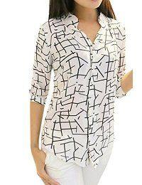 De manga larga de las mujeres de fuego gasa de la impresión de la manera adelgazan las blusas