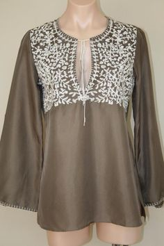 NEW Sundance Catalog Mocha Silk Embroidered Hippie Boho Tunic Top sz XS S #SundanceCatalog #Tunic