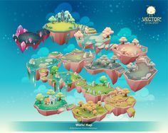 World Map by Warittanun Chatchutikitpinyo, via Behance Cartoon Background, Game Background, Game Ui Design, Map Design, Isometric Map, Low Poly Games, Environment Concept Art, Environment Design, Fantasy Map