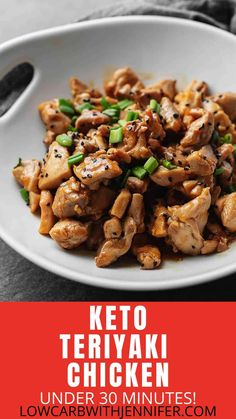 Jan 2020 - Another easy low carb dinner that can be made in under 30 minutes! This keto teriyaki chicken is full of flavor, will cure that keto Chinese food craving, and perfect served with cauliflower fried rice. Keto Foods, Ketogenic Recipes, Low Carb Recipes, Diet Recipes, Healthy Recipes, Dessert Recipes, Ketogenic Diet, Casseroles Healthy, Breakfast Recipes