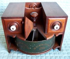 RARE Wood & Tin Rotating Spice Cabinet, Cast Iron handles 19th Cent ~ Table Top