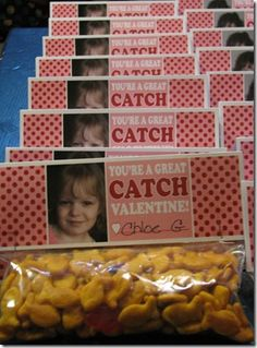 "Classroom valentine idea for a ""treat"" card...could also use swedish fish; don't think I'd put kid pic on, maybe a heart."