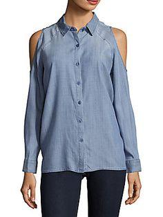 Saks Fifth Avenue Cold-Shoulder Chambray Shirt