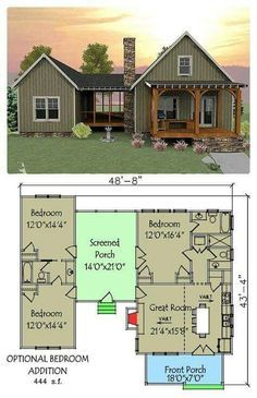 Open floor plan with screened porch - House Plans, Home Plan Designs, Floor Plans and Blueprints Dog Trot House Plans, Tiny House Plans, House Floor Plans, Unique Small House Plans, Small Open Floor House Plans, Small House Plans Under 1000 Sq Ft, Tiny Cabin Plans, Small Cottage Plans, Farmhouse Small