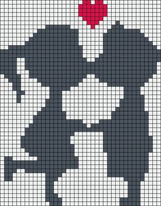 Kiss love perler bead pattern, I wouldn't have their faces touching, looks weird, maybe 1 square for noses and shorten other lines
